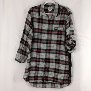 DKNY womans flannel long button down top large